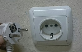 Common plug socket type in Ethiopia (Type F)